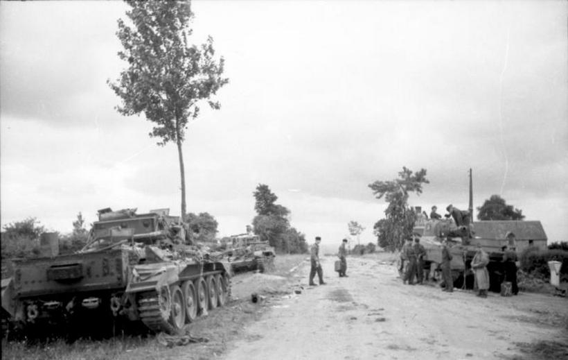 Villers-Bocage, zerstörte britische Panzer